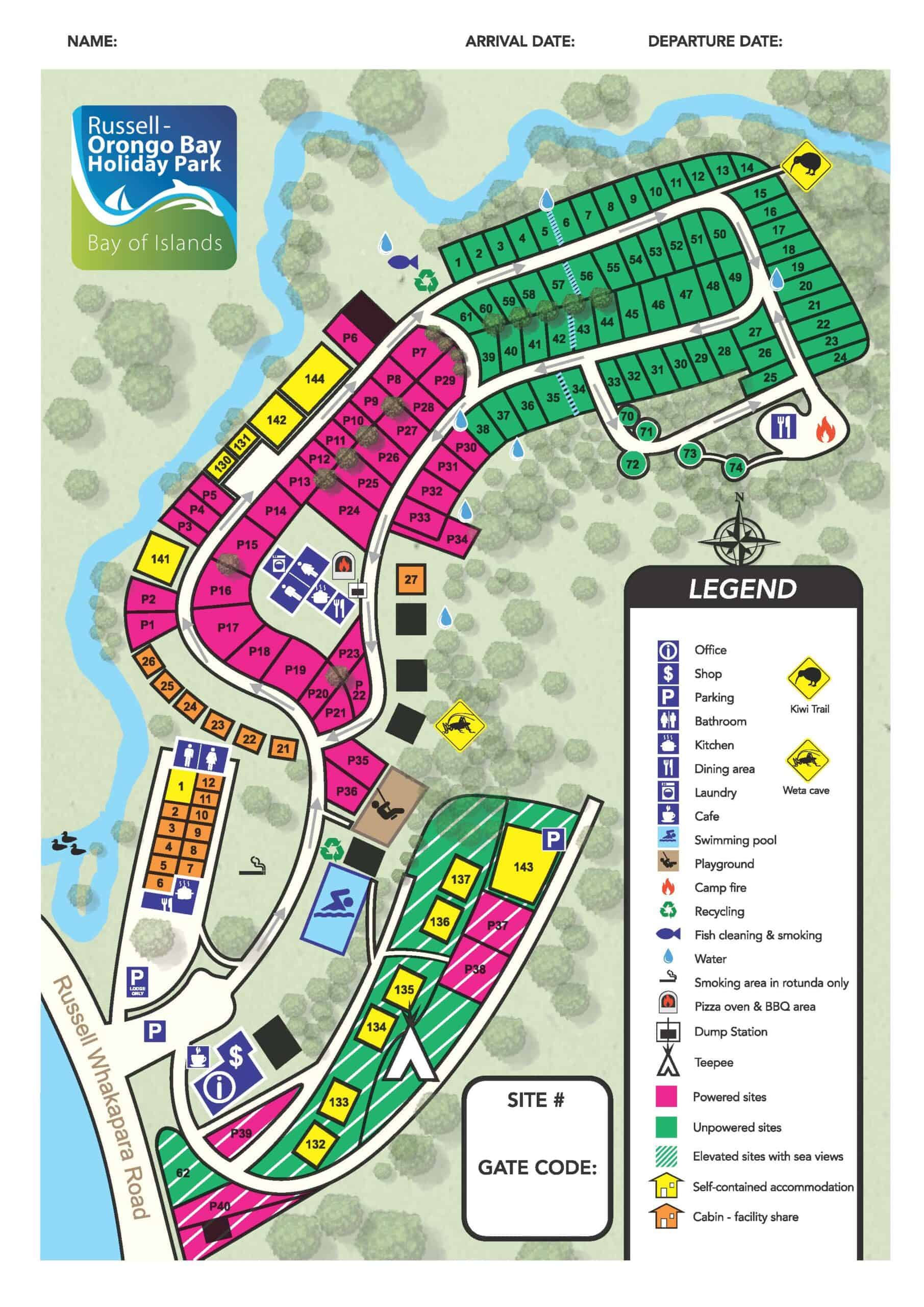 Park Map, Russell-Orongo Bay Holiday Park